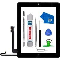 MMOBIEL Digitizer Display Glas für IPad 4 (Schwarz) 9.7 Inch Touchscreen Ersatzteil Inkl Flex Home Button + Kamera Halterung + Klebesticker und Werkzeugset mit Anleitung