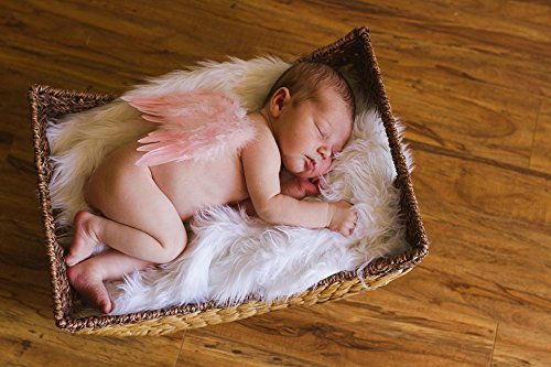 Amazon com natural feather angel butterfly wings newborn baby photo prop color rose pink baby