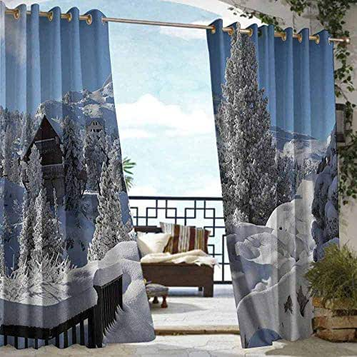 Alaska Indoor Outdoor Deck Curtain Winter Season in The North American Countryside Snow Covered Fields Trees UV Ray Protected and Waterproof 84