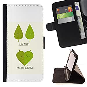DEVIL CASE - FOR LG OPTIMUS L90 - Funny Cute Leaf Tree Couple - Style PU Leather Case Wallet Flip Stand Flap Closure Cover
