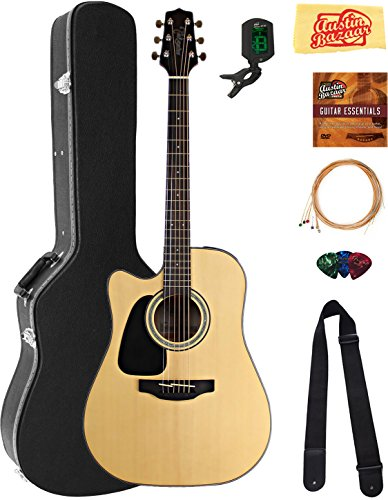 Takamine GD30CELHNAT Left-Handed Dreadnought Cutaway Acoustic-Electric Guitar - Natural Bundle with Hard Case, Cable, Tuner, Strap, Strings, Picks, Austin Bazaar Instructional DVD, and Polishing Cloth by Takamine