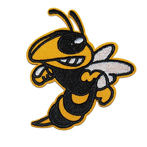 Bumble Bee Embroidered (Bumble Bee Hornet Style Iron On Embroidered Animal Patch (3 Patches))