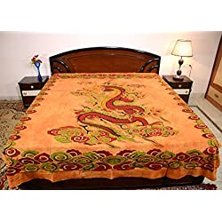 Sarjana Handicrafts King Size Cotton Flat Bed Sheet Dragon Bedspread Bedding (Brown)