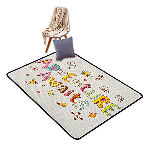 (Interior Door Rug Bathroom Rug Slip Adventure Cartoon Style Doodle Quote with Cute Little Monsters and Animals Colorful Design Outside The Door Rug)
