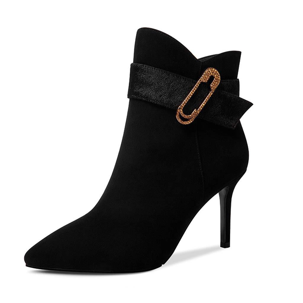 2018 Herbst Und Winter Stiefel Frauen Neue Matte Leder Frauen Stiefel Stiletto Spitz High Heels Gürtelschnalle Martin Stiefel (Farbe   SCHWARZ, größe   37)
