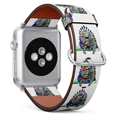 - (Pug Dog with Native American Chief Headdress) Patterned Leather Wristband Strap for Apple Watch Series 4/3/2/1 gen,Replacement for iWatch 42mm / 44mm Bands