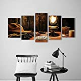 Wulian Painting Combination Frameless Mystic Night in Hotel Room Dallas with Lantern Nightstand Table and Poker Card Restaurant Bedroom Painting