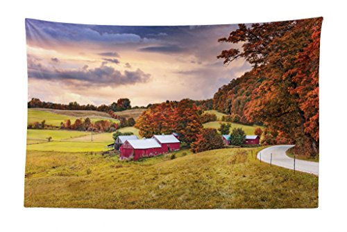 Lunarable Landscape Tapestry, Autumn Scene Jenne Farm in