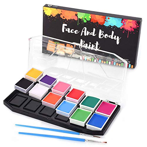 Professional Face Painting Kit, Halloween Face Paint, Body Paint, Fda Approved Non Toxic Hypoallergenic Water Based Face Paint Set for Kids - with 12 Color Mega Palette Face Stencils and -