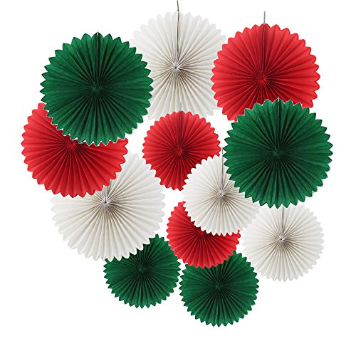 Ipalmay 12PCS Assorted Colors Hanging Tissue Paper Fans for Christmas Decorations(14