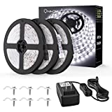 Onforu 50ft/15m Waterproof LED Strip Lights Kit, 6000K Cool White, 12V Flexible LED Rope with 450 Units 2835 LEDs, UL Listed Power Supply with Switch, IP65 Waterproof for Indoors and Outdoors