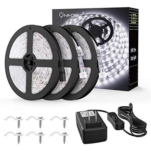Onforu 50ft/15m Waterproof LED Strip Lights Kit, 6000K Cool White, 12V Flexible LED Rope with 450 SMD 2835 LEDs, UL Listed Power Supply with Switch, IP65 Waterproof for Indoors and Outdoors by Onforu (Image #1)