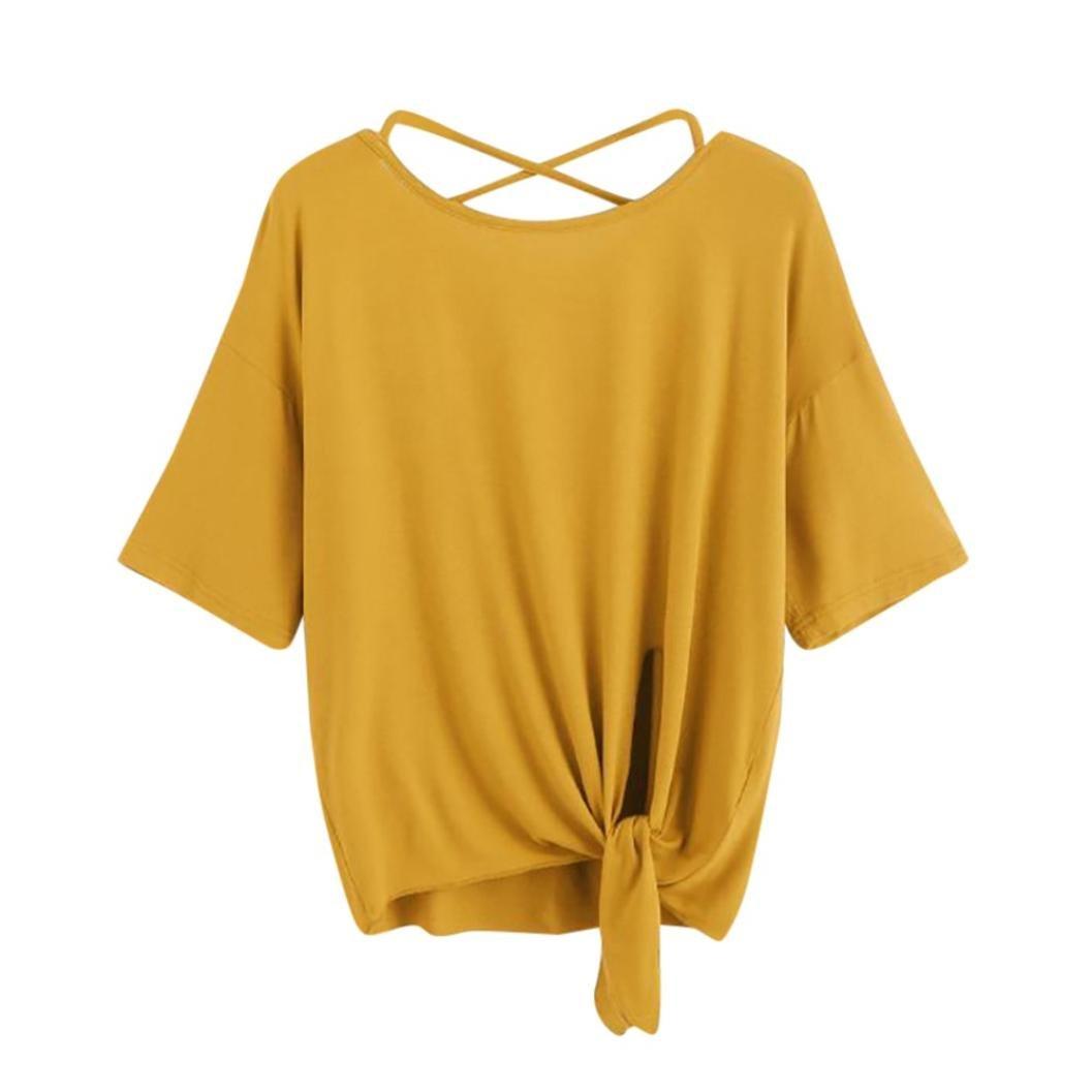 IMJONO Damen Women es Casual Solid Kreuzen Rücken Knoten Halb Ärmel Bluse T-Shirt IMJONO women Jun.22