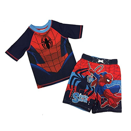 Spider Man Little Boys Toddler Swim Trunks and Rash Guard Shirt Set (4T)