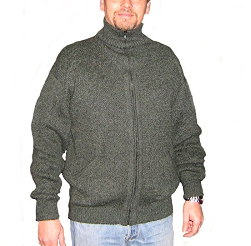 Alpakaandmore Mens Thick Alpaca Wool Cardigan, Green Sweater (X-Large)