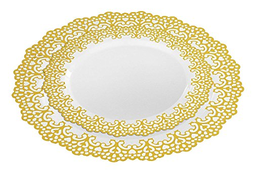 160 Piece (80 Guest) Disposable Plastic Plates, Hard and Reusable, Real China Look - Party Package Set - Includes 10