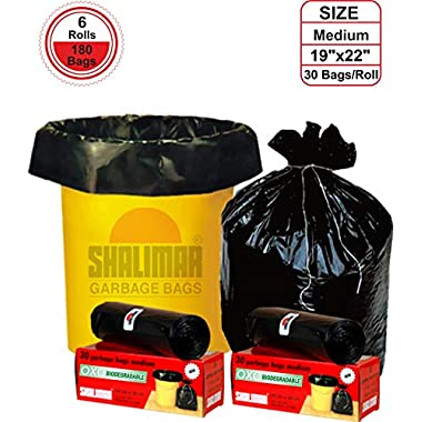 Shalimar Premium OXO - Biodegradable Garbage Bags (Medium) Size 48 cm x 56 cm 6 Rolls (180 Bags) (Black Colour) 6