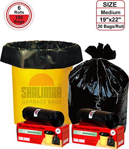 Shalimar Premium OXO - Biodegradable Garbage Bags (Medium) Size 48 cm x 56 cm 6 Rolls (180 Bags) (Black Colour) 2