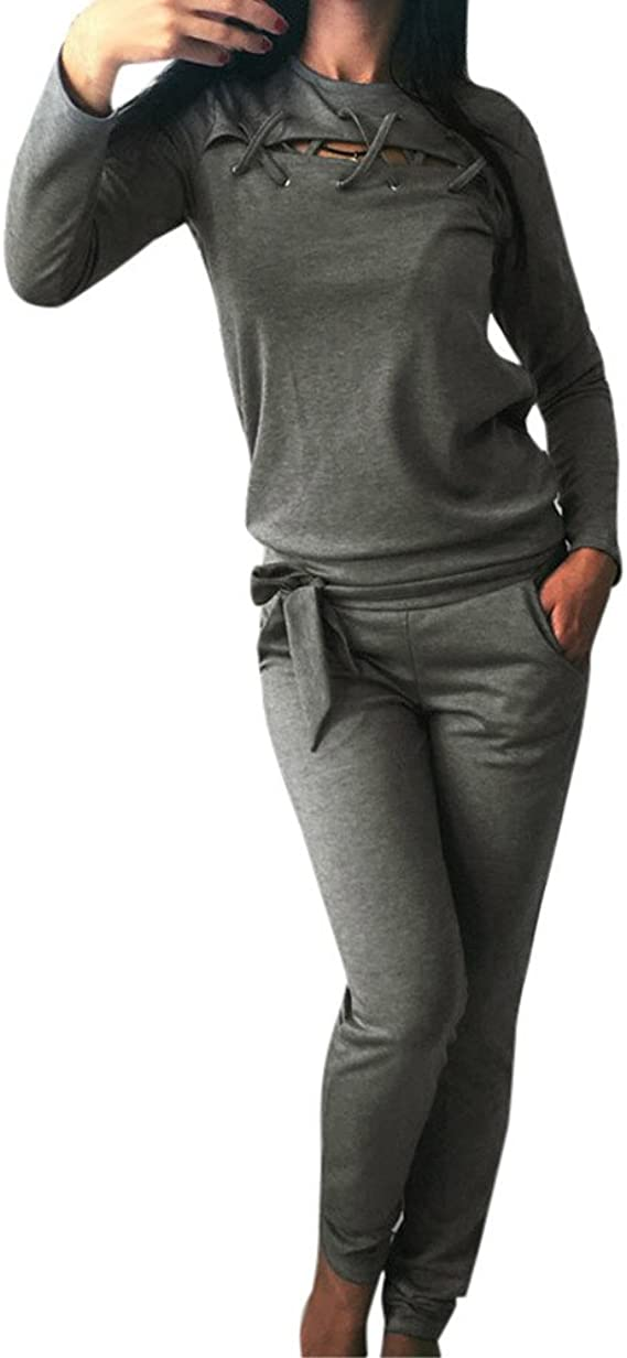 Homebaby 2 Pezzi Tuta da Ginnastica Donna Spalla off Felpa /& Sportivo Pantaloni Completo Yoga Elegante Ragazze Casuale Gym Tops Leggings Jogging Fitness Abbigliamento