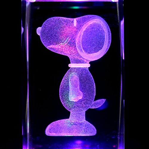 - 3 Inch Height - Snoopy L 3D Laser Etched Crystal + Display Light Base