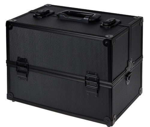 TMS Black Aluminum Makeup Cosmetic Jewelry Storage Case Box Lockable w/Tiers Strap