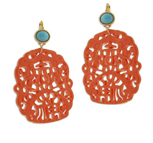 Kenneth Jay Lane Carved Coral and Turquoise Colored Resin Drop French Hook (Turquoise French Hook Earrings)