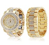 Bling King Men's Extra Large Gold Plated Round Iced Out Hip Hop Bling Watch + Bracelet Set