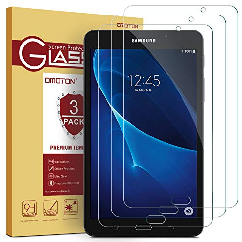 [3 Pack] OMOTON Samsung Galaxy Tab A 7.0 Screen Protector, Tempered-Glass Protector with [9H Hardness] [Crystal Clear] [Scratch-Resistant] [Bubble Free] (Samsung Galaxy Tab 3 Lite 7-0 Case)