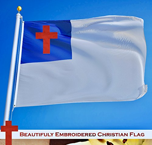 G128 – Christian Flag | 3x5 feet | Embroidered 210D – Indoor/Outdoor, Vibrant Colors, Brass Grommets, Quality Polyester