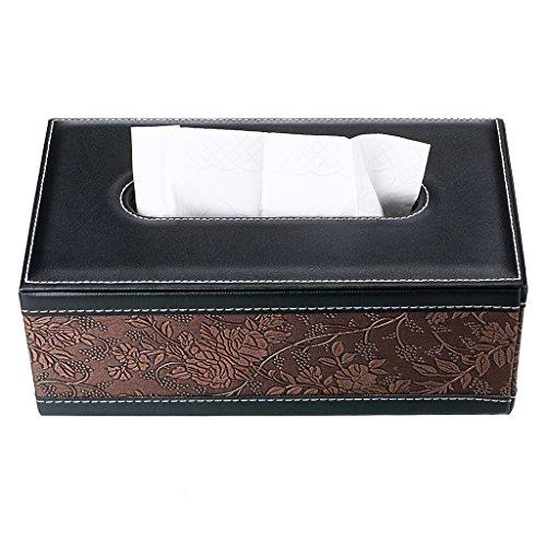 Sumnacon Stylish PU Leather Tissue Box Holder, Rectangular Napkin Holder Pumping Paper Case Dispenser, Facial Tissue Holder Magnetic Bottom Home Office Car Automotive Decoration(Retro Flower)