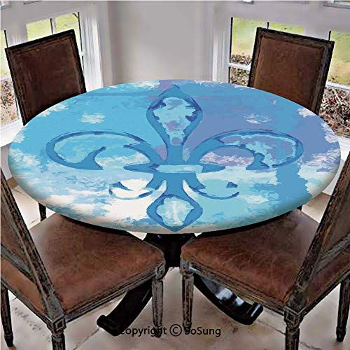 Elastic Edged Polyester Fitted Table Cover,Illustration of Lily Flower Like Frozen Heredic Nobility Emblem Queenly Style Print,Fits up 45