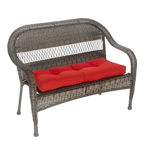 Outdoor Patio Bench Cushion - Solid and Patterns - 43 x 19 x 3 (Solid Red) by Klear Vu