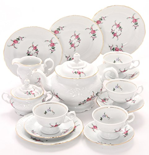 - Tea With Grace Rose Garden Fine China Tea Set for Four