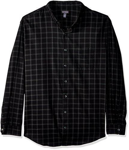 Van Heusen Men's Size Big and Tall Traveler Button Down Long Sleeve Stretch Black/Khaki/Grey Shirt, Plaid, X-Large
