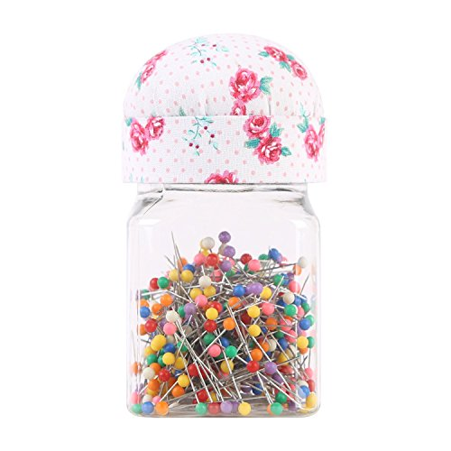 Neoviva Plastic Storage Jar Containers with Pin Cushion Lid for Quilting Pins, 300 Ball Head Pins Included, Floral Fuchsia Rose