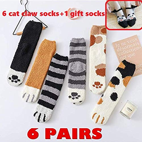 HOLLEuu 6 Pack Cute Cat Claw Design Plush Cozy Slipper Sock for Womens Winter Indoor