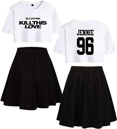 Blackpink Impreso Moda Set de Dos Piezas Camiseta Corta + Falda ...