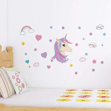 ZooArts ウォールステッカー ユニコーン 北欧風 女の子 子供部屋 カラフル 可愛い 壁紙シール 壁の装飾