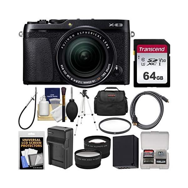 514hilkq3vL. SS600  - Fujifilm X-E3 4K Digital Camera & 18-55mm XF Lens (Black) with 64GB Card + Case + Battery & Charger + Tripod + Filter…