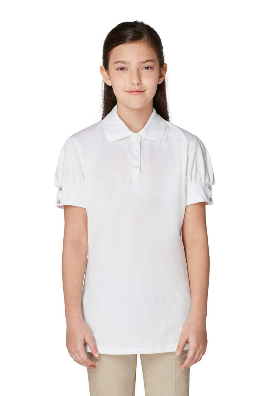 French Toast Girls' Big Short Puff Sleeve Polo, White, L (10/12)