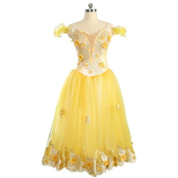 f6a8273ba QSEFT Adult Professional Ballet Tutu Village Girl Ballet Long Tutu Yellow  Ballet Stage Costumes Women Ballet