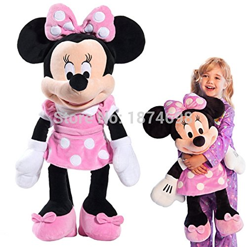 Original Minnie Mouse Toys Large Big 65cm 26'' Minnie Plush Toy Pink Purple Red Dress Mickey Mouse Girlfriend Pelucia Kids Gifts