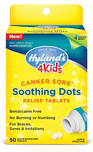 Hyland's 4 Kids Canker Sore Treatment, Natural Pain Relief of Mouth Ulcer, Braces, and Oral Irritation, 50 (Ulcer Treatment)