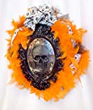 Bday Parties Halloween Orange Feathered Wreath Black Mirror Skull 16' OOAK