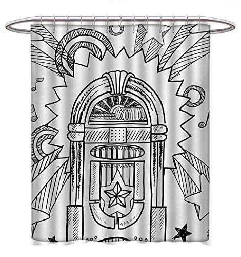 Anhuthree Jukebox Shower Curtains Fabric Retro Vintage Cartoon Sketchy Style Radio Music Notes Box with Stars Image Bathroom Decor Sets with Hooks W69 x L75 Black and White -