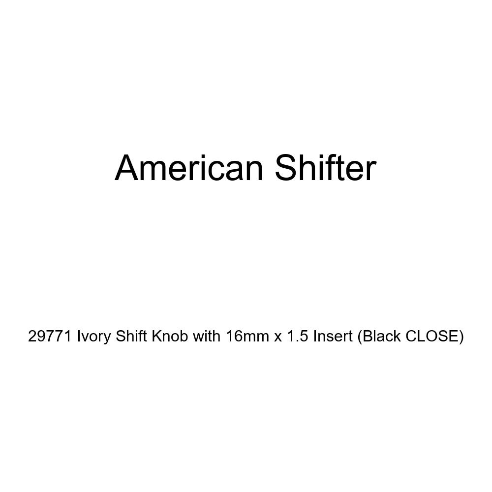 American Shifter 29771 Ivory Shift Knob with 16mm x 1.5 Insert Black Close