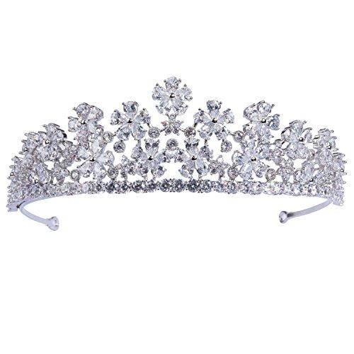 70ILY Flower Silver-tone Bridal Wedding Headband CZ Tiara Women Hair Crown Accessories
