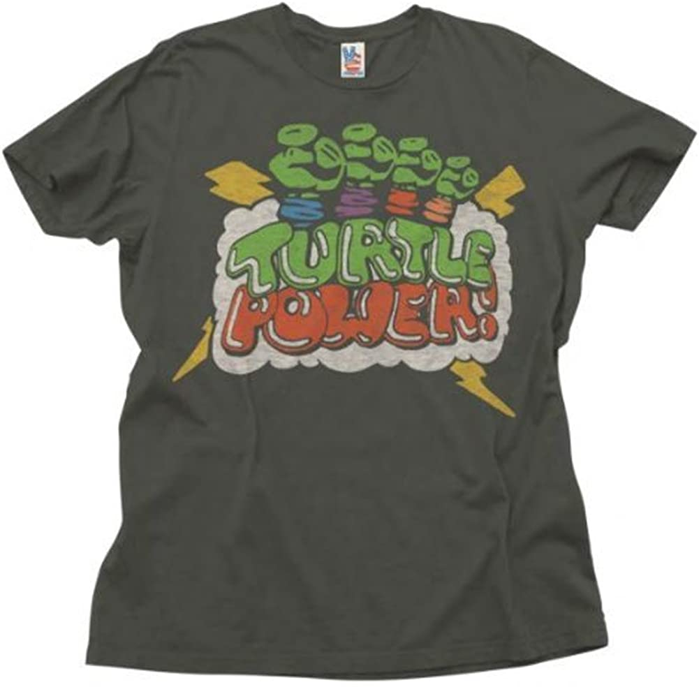Junk Food TMNT Teenage Mutant Ninja Turtles Turtle Power Adult Black T-Shirt
