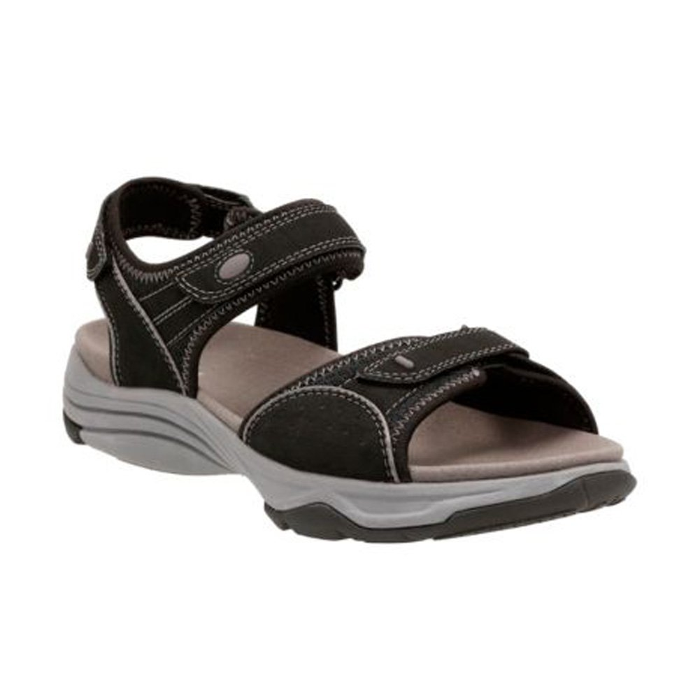 CLARKS Women's Wave Grip Sandal B01IANE4GO 6 B(M) US|Light Grey Nubuck