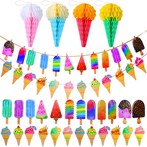 Elcoho 2 Pack Ice Cream Party Decoration Set Paper Garland Banner Pattern Hanging Decoration and 4 Sheets Tissue Paper Cone Honeycomb Balls for School Summer Kid Birthday Party Decoration ()